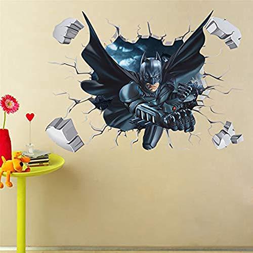 Yu Li Batman Cracked Wall Effect Decal Sticker Home Decor Art Mural Super Heroes Kids Boys Bedroom - Batman Mural