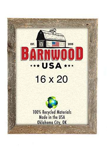 BarnwoodUSA Rustic 16x20 Inch Picture Frame 2 Inch Wide - 100% Reclaimed Wood, Weathered Gray