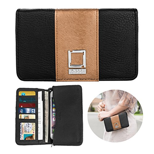 Womens Premium Vegan Leather Horizontal Cellphone Wallet Case Clutch Purse Mini Messenger Pouch with Removable Strap for iPhone X 8 7 Plus 6S 6 Galaxy Note 8 S8 S7 LG and More Black Copper