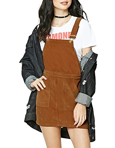 hodoyi Womens Corduroy Sleeveless Solid Overall Pinafore Dress(S,Camel) (Pinafore Dress)