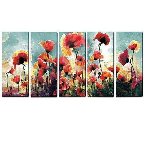 Painting Original Oil Red Poppies - 3Hdeko - Extra Large Flower Wall Art Red Yellow Poppies Painting Floral Canvas Print Decorative Picture for Living Room Bedroom Office, Stretched (12x30inch x5pcs)