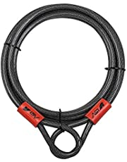 BV 15FT Security Steel Cable with Loops, Braided Steel Flex Cable, Lock Cable 3/8 Inch, for U-Lock and Padlock