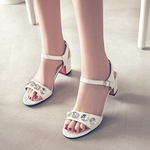 Charme Voet Dames Mode Strass Dikke Hak Open Teen Sandaal Wit Pu Leer