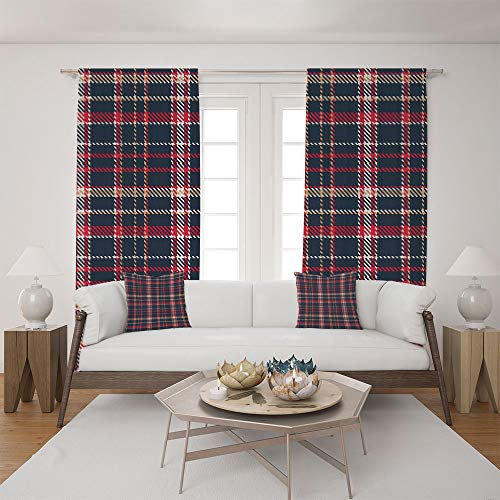 (2 Panel Set Satin Window Drapes Living Room Curtains and 2 Pillowcases,Checkerboard Pattern with Pixel Art Inspirations,The perfect combination of curtains and pillows makes your living room)
