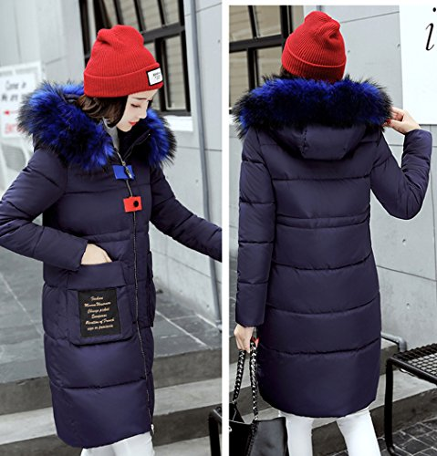 Blue Parka Ladies Bigood Hooded Women Thick Slimming Winter Long Down Jacket Coat xHfxPzqw