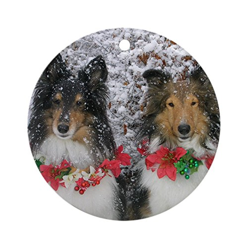 CafePress Shetland Sheepdogs in The Snow CHRI Round Holiday Christmas Ornament