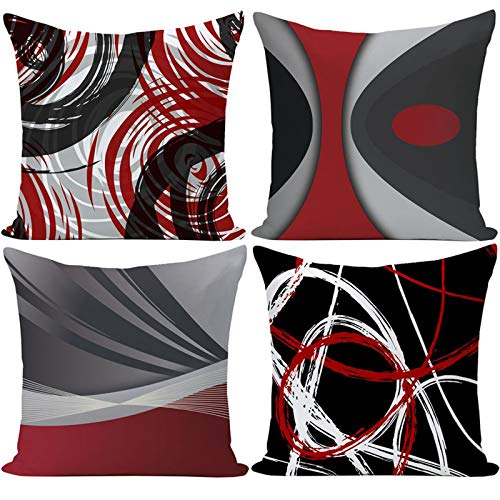 EZVING Set of 4 Throw Pillow Covers Modern Abstract Red Stripes Gray Black White Acrylic Bold Grey Decorative Pillow…