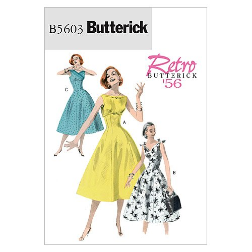 1950s Sewing Patterns | Swing and Wiggle Dresses, Skirts 1956 Butterick Patterns B5603 Misses Dress Size EE (14-16-18-20) $10.28 AT vintagedancer.com