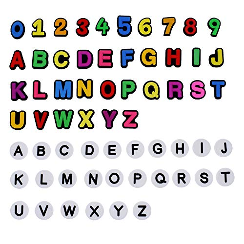 SHINQEAR 62pcs Two Set of Letters Aphabet and One Set Number Shoe Charms Fits Croc Letter Clog Charm Shoe Charms Decorations