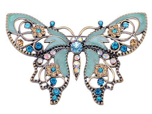 Alilang Antique Golden Aquamarine Blue Colored Rhinestones Butterfly Brooch - Estate Set Vintage Jewelry