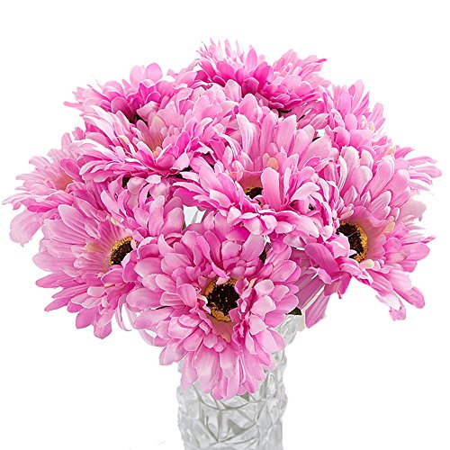 Htmeing 10 pcs Sunbeam Artificial Flower Mum Gerber Daisy Bridal Bouquet Silk Wedding Party Decoration (dark pink) (Gerber Wedding Pink Daisy)