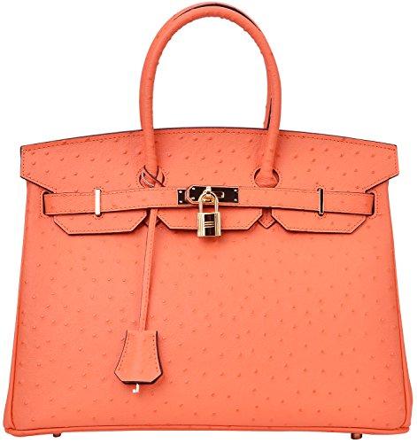 Cherish Kiss Women's Handbags Top Handle Padlock Bags Genuine Leather Embossed Ostrich Purses (30 Ostrich Orange)