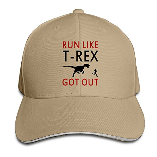 Macevoy Run Like T-Rex Got Out Casual Unisex Unstructured Cotton Cap Adjustable Baseball Hat Cap (Blow Up Dinosaur Costume Video)