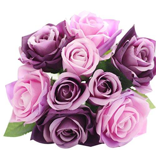 9 Heads Modern Artificial Silk Fake Flowers Leaf Rose Wedding Floral Decor Bouquet Home Decor ,KESEE (Purple)
