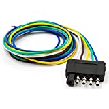 5 wire trailer harness - TIROL 5-Way Flat Trailer Wire Harness Extension Connector Plug with 36 inch Cable Length End Connector
