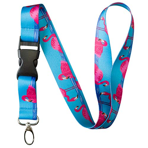 Animal Bug Themed Lanyard Key Chain ID Card Badge Holder (Flamingo) -