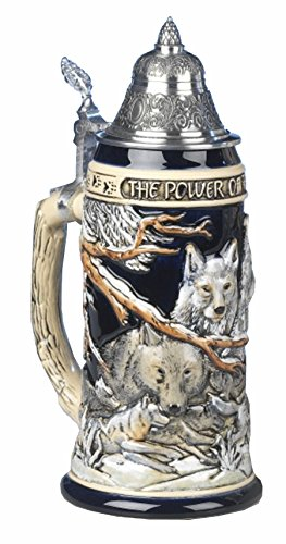 German Beer Stein the power of the Wolf Pack Relief Stein 0.75 liter tankard, beer mug KI 955 0,75L by KING