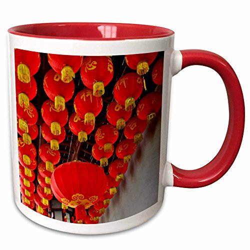 3dRose Danita Delimont - Lamps - Chinese Lanterns in red at the Jade Buddha Temple, Shanghai, China - 15oz Two-Tone Red Mug -