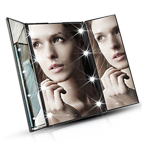 Vanity Lighted Makeup Mirror - Three Panel and 8 LED Lights, Black (3 Panel Folding Mirror)