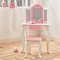 Teamson Kids TD-11670F Fashion Prints Wooden Vanity Table & Stool Set, One Size, Pink/Polka Dot