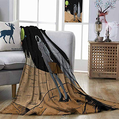 (DILITECK Astronaut Comfortable Blanket Business Woman in Space Briefcase Buying and Selling on Alien Planet Easy Travel Black Brown Multicolor W70 xL84)