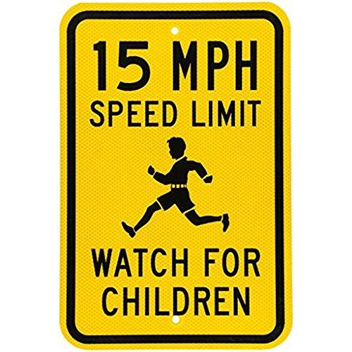 Riuolo Fluorescent Diamond Grade Reflective Aluminum Sign, Legend 15 MPH Speed Limit Watch for Children, 18 High X 12 Wide Inch, Black on ()