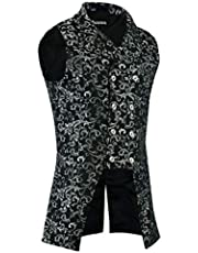 Darkrock Men's Double Breasted Governor Vest Waistcoat VTG Brocade Gothic Steampunk (2XL, Silver)