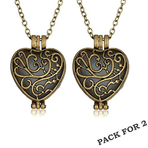 Heartless Queen Costumes - Dazzle Flash Vintage Brass Hollow Out Heart Glow In The Dark Magic Fairy Necklace N302-1 (Pack for 2)