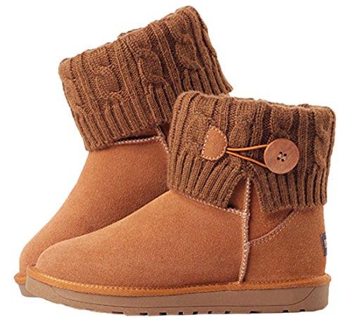 Brown HooH Button Winter Boots Knit Boots Snow Women Fur Nubuck Warm Ankle Zwx1PWn
