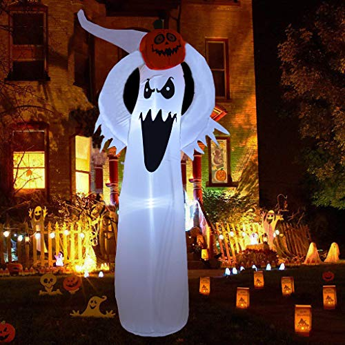 NewAim 6 Foot Halloween Inflatable Air Blown White Ghost Pumpkin Lighted Home Yard Garden Indoor Outdoor Decoration