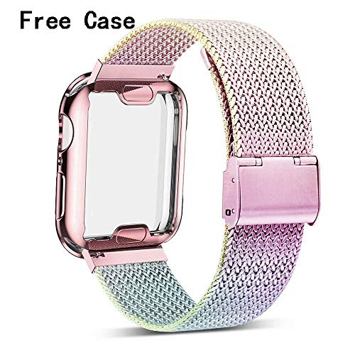 Henstar Compatible with Apple Watch Band , Stainless Steel Mesh Sport Wristband Loop with iWatch Screen Protector Compatible with iWatch Series 4/3/2/1 (Colorful, 40mm)