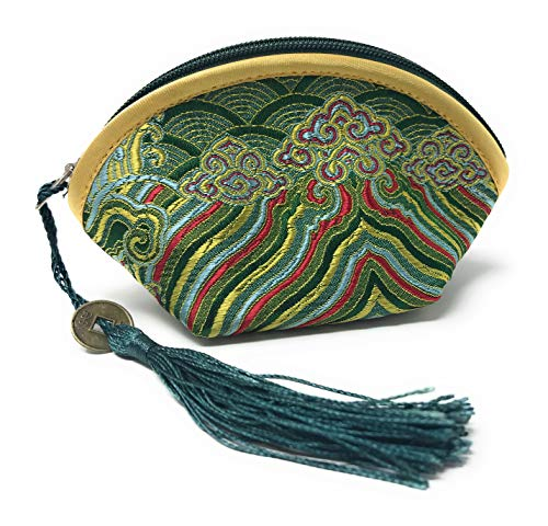 Value Arts Green Zippered Coin Purse Pouch, Vaco Chic Chinese Silk, 4.25 Inches Long -