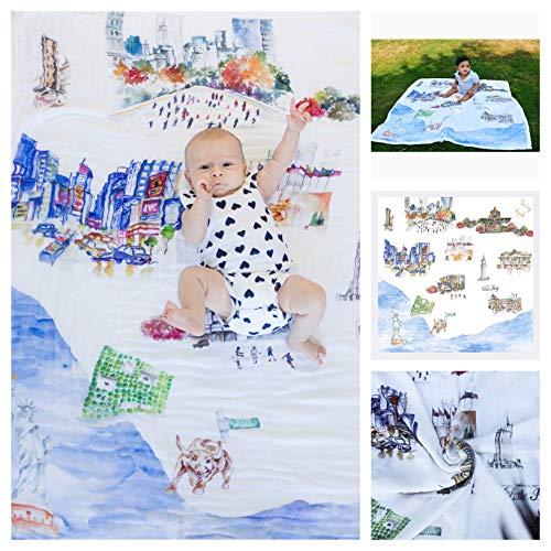 Baby Blanket The Big Apple 8 Layers Luxury Bamboo Organic Cotton Toddler Boy Girl ()