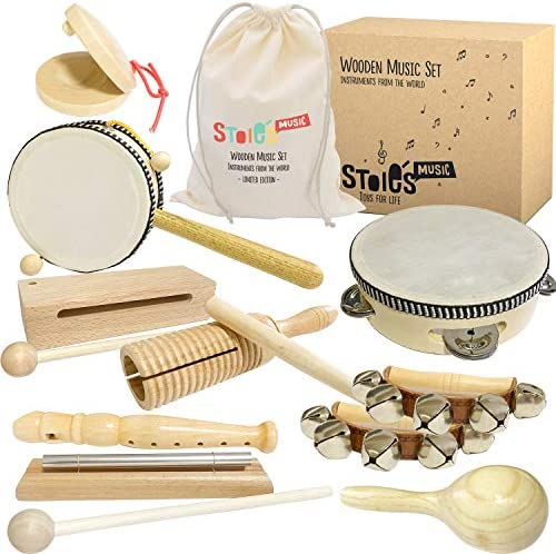 Stoie's International Wooden Music Set for Toddlers and Kids- Eco Friendly Musical Set with A Cotton Storage Bag – Promote Environment Awareness, Creativity, Coordination and Have Lots of Family Fun