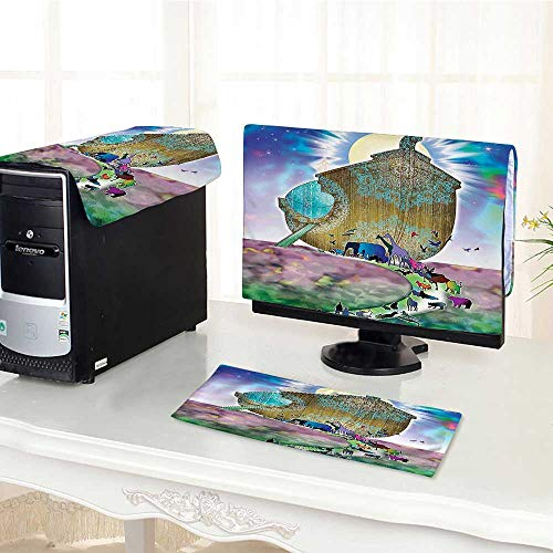 Computer Three-Piece dust Cover Noahs Ark Myth Themed Big Ship with All  Couple Animals on The Shore Protect Your Computer /18
