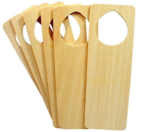 Blank Door Hangers (Wood Door Knob Hanger 9.5 x 3-1/4 Inch, Pack of 12 Unfinished Wooden Door Knob Cutouts, Easy to Paint or Decorate, Sturdy, Kids Arts and Crafts by)