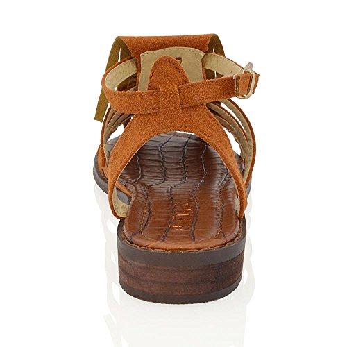 ESSEX GLAM Gamuza Sintética Sandalias planas de antelina estilo gladiador con borlas y tiras Broncearse Gamuza Sintética