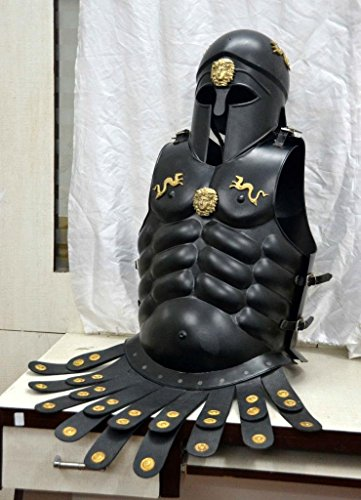 [HALLOWEEN WEARABLE COSTUME MEDIEVAL MUSCLE JACKET WITH KING LEONIDAS CORINTHIAN ARMOR HELMET] (King Leonidas Costumes)