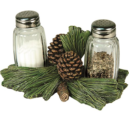 - River's Edge Pinecone Salt and Pepper Glass