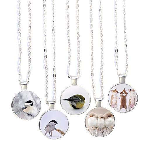 Lovely Long inches Glass 2 Inspired Silvery for with 19 Necklace Silvery Animals Pendant Necklace Pendant Animals Bling 5pcs Bling Cabochon Gifts Handmade Chain wxanCq7EWY
