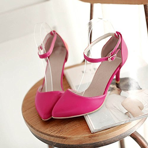 Chfso Femmes Bout Pointu Solide Talon Aiguille Sangle Pompes Chaussures Rouge