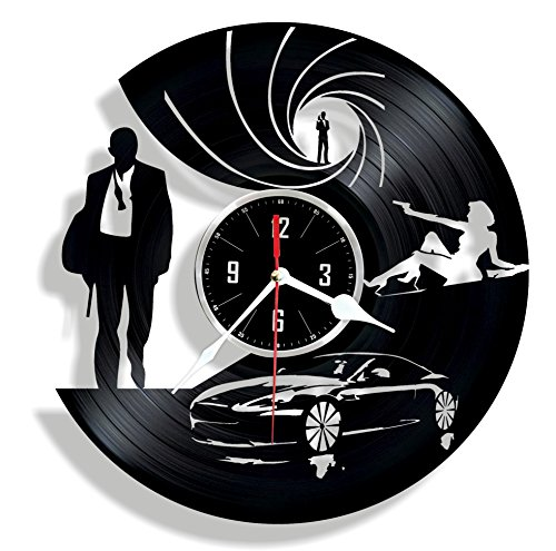 Special Agent handmade vinyl wall clock - great gift for your man - unique home - Years James Bond