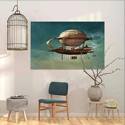 Canvas Wall Art Sticker Murals Fantasy Surreal Sky Scenery with Steampunk Airship Fairy Sci Fi Stardust Space Image On Canvas Abstract Artwork Teal and Brown W23 xL15 ()
