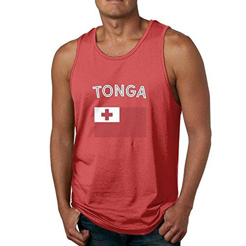 (Huajsu Tonga Flag Men's Design Athletic Basic Solid Cotton Tank Top Jersey Casual Shirts Undershirt Top Red XX-Large)