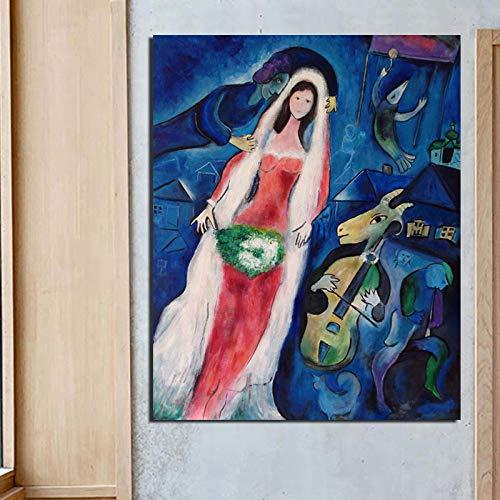 MXmama Cuadros modulares Marc Chagall Lienzo Arte de la Pared Surrealismo Pintura Impreso Cartel de la Novia Decoracion del hogar Sala nordica 50x70cm (sin Marco)