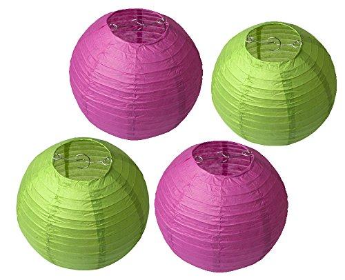 Kolossalz Pink & Green Paper Lamp || Hanging Round Paper Lamp-10 Inch