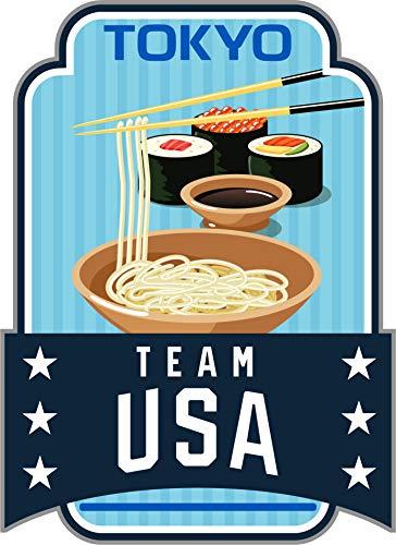 2020 Summer Olympics Tokyo Japan Team USA Sushi & Noodles Metal Lapel ()