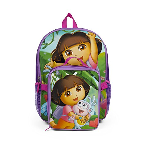 - Nickelodeon Dora the Explorer Purple Backpack with Insulated Lunch Kit for Girls
