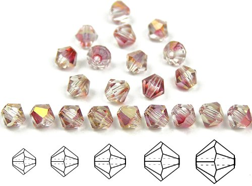 6mm Crystal Rosehip Luster, Czech MC Rondell Bead (Bicone, Diamond Shape), 12 pieces