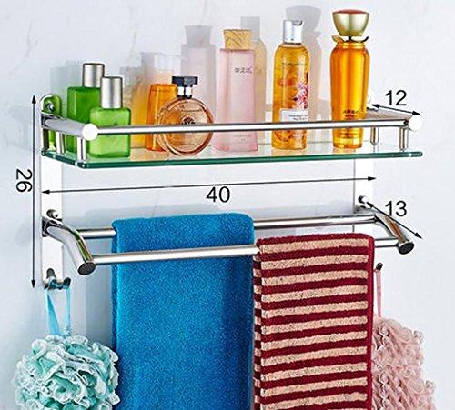 YAOHAOHAO Bathroom shelves shelving bath rooms in glass, 304 stainless steel towel rails, bath rooms, glass shelving to the wall (Color 3 by YAOHAOHAO